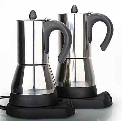 * Electric Moka Coffee Pot * Stainless Steel. Up to 6 expresso cups capacity