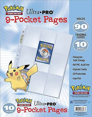Pokemon Ultra Pro 9-Pocket Pages - Clear Trading Card A4 Sleeves -  (10 Pack)