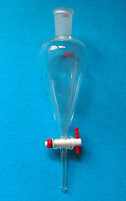 250ml,24/40,Glass Separatory Funnel,Pear Shape,PTFE Stopcock,Straight Drop Tube
