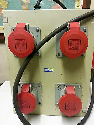 Lewden Gang Industrial Power Sockets 415V 3 Phase Extension 4 Ways Red PM16 3P-N