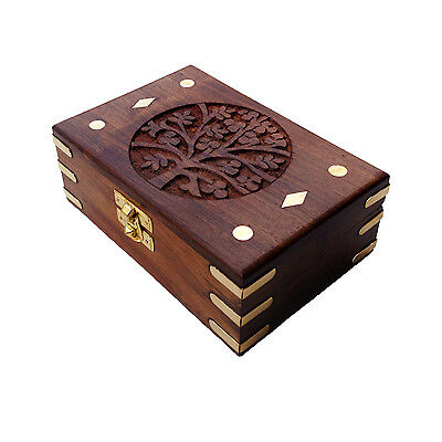 Handcarved Brass Engraved Rectangular Beautiful Wood Gift Box