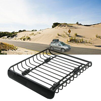 Universal Black Steel Cargo Carrier Roof Rack Basket Cross Bar for Car SUV