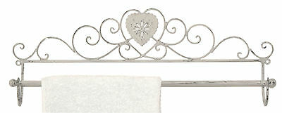 Shabby Chic Grey Towel Rail Distressed Vintage Style Metal Heart Design