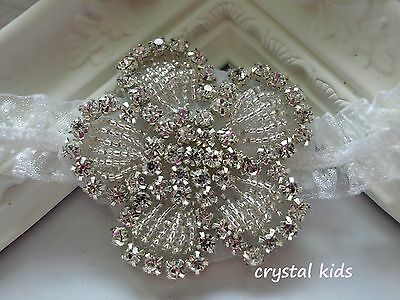 Baby Girls White Crystal Sparkly Elasticated Christening Headband * HANDMADE *