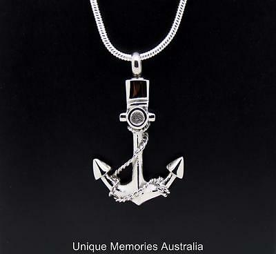 316L Stainless Steel Ships Anchor Memorial Cremation Keepsake Ashes Urn Pendant
