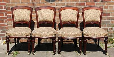 A Set of Four Victorian Carved Mahogany Dining Chairs Reeded Legs