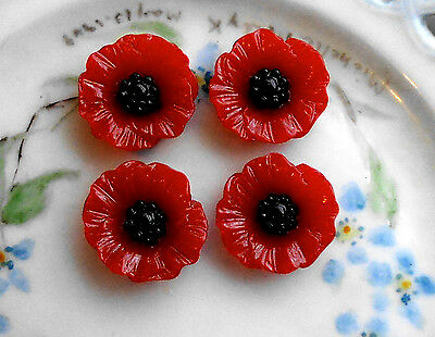 #524A Poppy Cabochons Red Carved Shabby Floral Cabs Flowers Black 17mm Garden