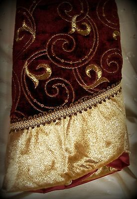 """NWT 48"""" Christmas Tree Skirt-Burgundy with Gold Embroidery, Sequins & Border"""