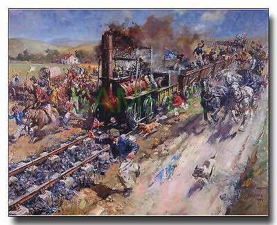Locomotion on the Stockton & Darlington 1825 framed picture Terence Cuneo