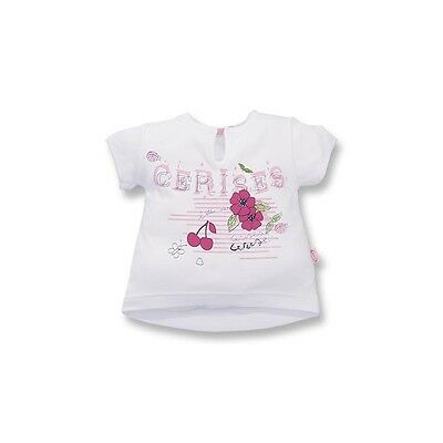 Baby Girl cotton printed T-shirt white with pattern cherry,flowers 24 M