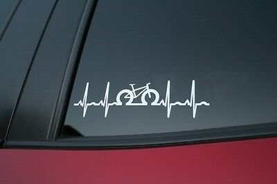 Fat Bike heartbeat die-cut car window sticker, buy 2 get 1 free!