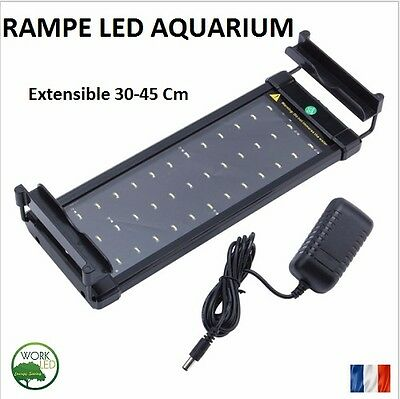 RAMPE LED ECLAIRAGE AQUARIUM EXTENSIBLE 30-45 CM  2 Couleurs Blanc Bleu