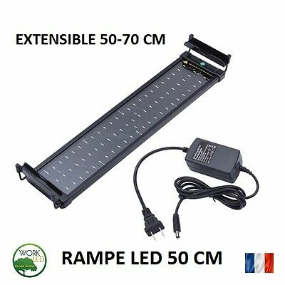 RAMPE LED ECLAIRAGE AQUARIUM EXTENSIBLE 50-70 CM  2 Couleurs Blanc Bleu