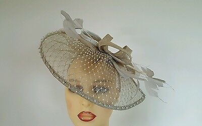 Ladies  Wedding Races Hat Fascinator Silver Buff Gwtther Snoxells England