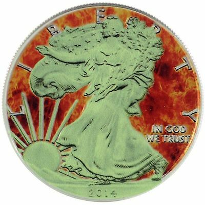 2014 1 Oz Ounce Silver American Eagle Coin Colorized Fire GLOW IN THE DARK 999