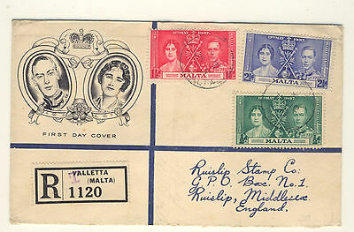 Malta fdc cover registered to GB 1937 registered T