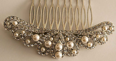 Bridal Wedding Stunning silver Crystal Diamante & pearl Women Hair Clip Comb 208