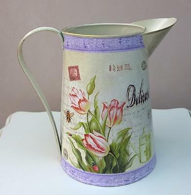 Shabby Jug Cream and Lilac Tulips Floral Metal Jug Distressed Style 18cm