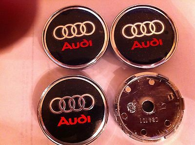 AUDI RED/BLACK ALLOY WHEELS CENTER CAPS SET (4) Face 60mm Clip 58mm