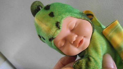 "Vintage Anne Geddes Vinyl & Cloth Sleeping Baby Doll - 9"" Long - Butterfly- Cute"