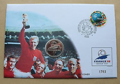 World Cup France 98 1998 Cover Paris H/s + France 1 Franc Coin