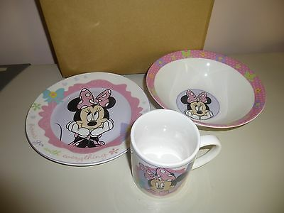 Disney Minnie Mouse Glass Dinner Set Cup Plate Bowl New in Box CUTE