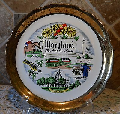 """Vintage Maryland Souvenir Plate~Crazing~The Old Line State~9"""" A Capsco Product"""