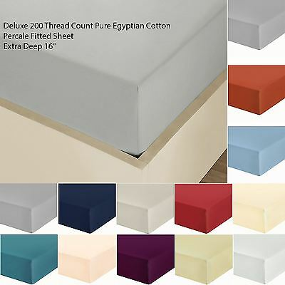 """Luxury 100% Cotton 16"""" Extra Deep Plain Fitted Bottom Sheet 200 Thread Percale"""