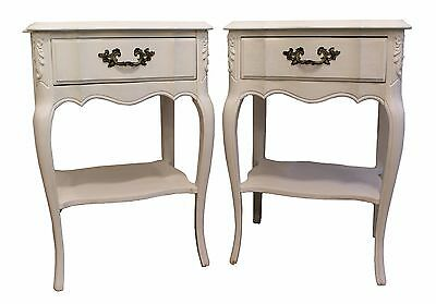 Pair of Country French White Chalk Painted Nightstands/End/Side Tables