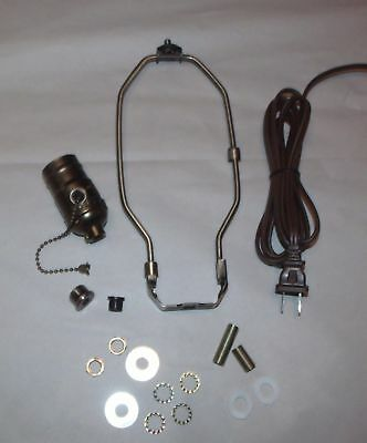 Table Lamp Wiring Kit ~ ANTIQUE BRASS  ~ PULL CHAIN Socket ~ Cord ~ { 7 Sizes }