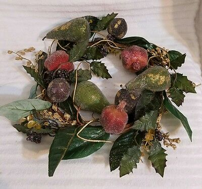 """HOLIDAY CENTERPIECE Beaded Fruit Wreath Candle Ring  ~ 16"""" Table Decor"""