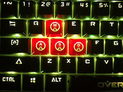 4 Red WASD Overwatch Death Logo Translucent ABS  Mechanical Keycaps For Gamers