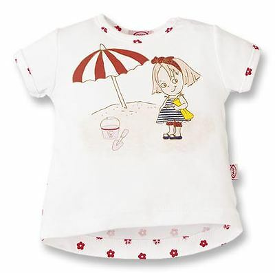 Baby short sleeved T -shirt, printed Girl at the Beach, 9-12 M DANY