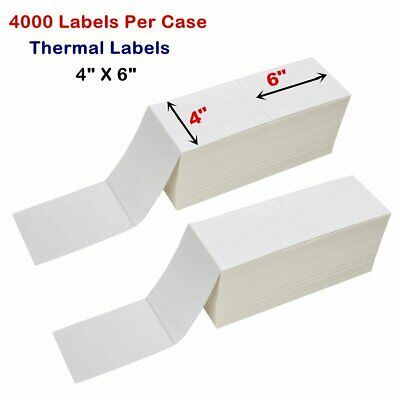 "4000 Fanfold 4"" x 6"" Direct Thermal Shipping / Barcode Labels - Zebra 2844 USPS"