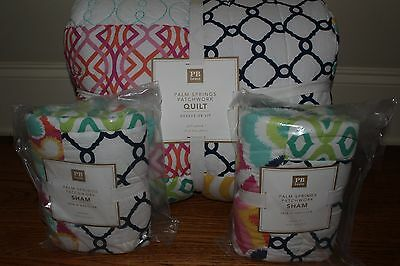 NWT Pottery Barn PB Teen Palm Springs Patchwork FQ quilt & 2 shams full queen