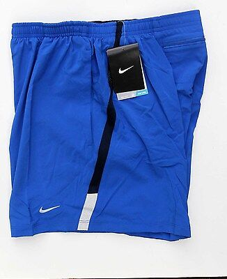Nike 5 Inch Distance Mens Running Shorts. LARGE. Zip pocket- Blue RRP £29!!