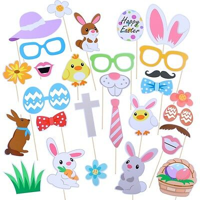 29pcs Photo Booth Props Mask Easter Bunny Ears on A Stick Easter Egg Photography