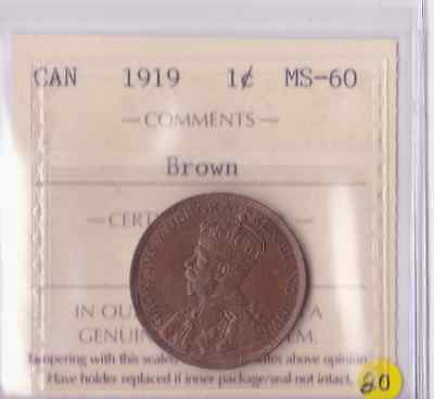 1919 Canada 1 Cent ICCS Graded  MS-60