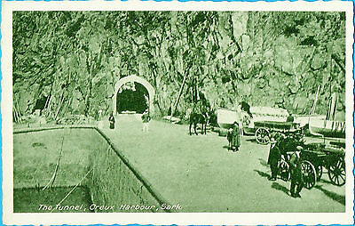 The Tunnel,Creux Harbour,Sark,with Horses and Carts/Carriages