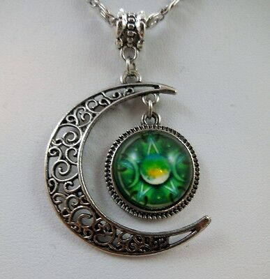 Wiccan Crescent Moon Triple Goddess Pentacle Glass Pendant Pagan Wicca Occult 2