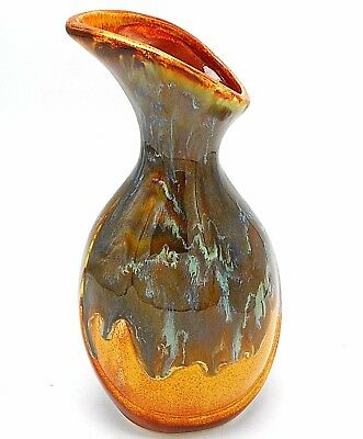 """Art Pottery Drip Glaze Pitcher Carafe Stoneware Brown Turquoise Signed 10"""" USA"""