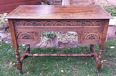 antique victorian ladies writing desk carved solid oak lovely patina