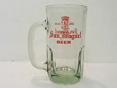 San Miguel Beer Glass Stein Green Tinted Red Logo HEAVY Since 1890 Phillippines