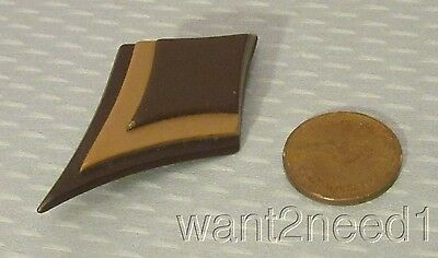 60s vtg early LEA STEIN PARIS MARQUISE PIN brown & tan laminated layers