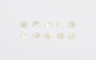 10 X 9mm Ivory REAL Genuine Shell Mother of Pearl MOP BUTTONS - Shirts blouse