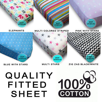 100% Cotton Fitted Bed Sheet Luxury Single Quality Multi Pasterns 1/2/4