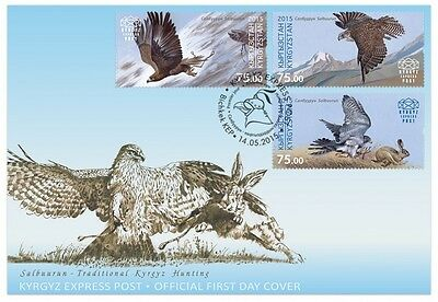 Z08 KYR15108a KYRGYZSTAN 2015 Eagle and Falcons First Day Cover