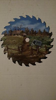 Hand Painted Saw Blade Art Fall Cabin Mailbox Free Shipping!