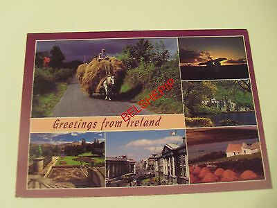 Ireland, Postcard, Posted 1999. Horse & Cart, Monument