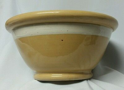 "Huge Antique 14"" Yellow Ware Bowl w Wide White Stripe, Shipping Included in US"